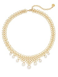 Majorica 6Mm 10Mm White Round Pearl Woven Link Necklace Gold White
