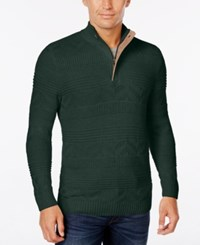 Tasso Elba Men's Quarter Zip Mixed Stitch Sweater Only At Macy's Nocturnal Green
