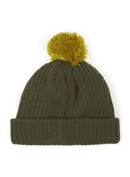 Topman Green Khaki And Mustard Mini Fit Bobble Beanie Hat