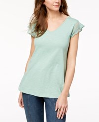 Styleandco. Style Co Cotton Embroidered T Shirt Created For Macy's Sweet Mint
