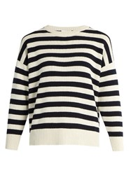 Saint Laurent Long Sleeved Striped Cashmere Sweater Blue White