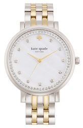 Kate Spade 'Monterey' Crystal Dial Bracelet Watch 38Mm Silver Gold
