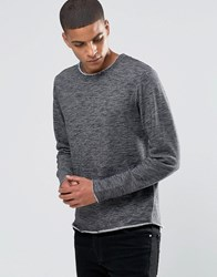 Solid Raw Edge Sweat With Scoop Hem Black 2958