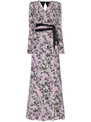 Ronald Van Der Kemp Silk Floral Wrap Dress Grey