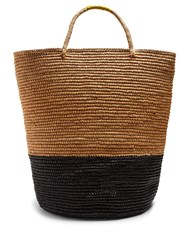 Sensi Studio Contrast Panel Toquilla Straw Tote Black Multi