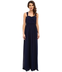 Donna Morgan Bailey Draped Side Strapped Gown Midnight Women's Dress Navy