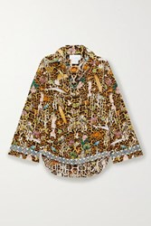 Camilla Crystal Embellished Printed Washed Silk Shirt Light Brown