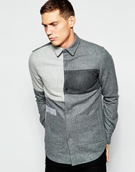 Han Kjobenhavn Han Public Shirt With Patch Pockets And Colour Block Grey