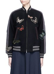 Valentino Beaded Butterfly Wool Felt Bomber Jacket Black