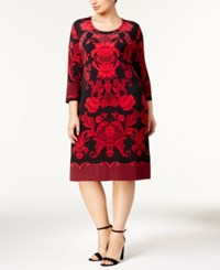 Jm Collection Plus Size Lace Print Dress Red Artic Brocade