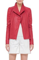 Women's Akris Punto Nappa Leather Jacket Cherry