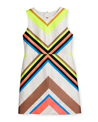 Milly Minis Sleeveless Mitered Stripe Sheath Dress Multicolor