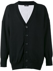 Raf Simons Long Sleeved Cardigan Men Cotton Linen Flax M Black