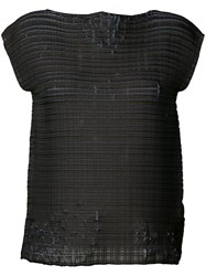 Issey Miyake Distressed Woven Top Women Polyester 2 Grey