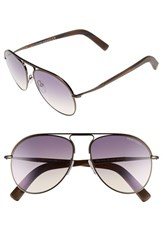 Men's Tom Ford 'Cody' 56Mm Aviator Sunglasses Shiny Dark Brown Gradient