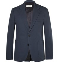 Maison Martin Margiela Blue Slim Fit Cotton Twill Suit Jacket Blue