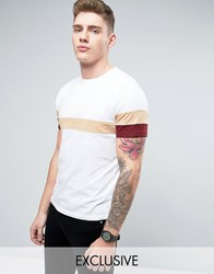 Brooklyn Supply Co. Co Cut And Sew Stripe T Shirt White Red Sleeve