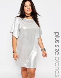 Missguided Plus Shiny T Shirt Dress Silver