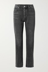 Gold Sign Goldsign The Benefit High Rise Straight Leg Jeans Dark Gray
