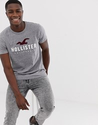 Hollister Iconic Tech Logo T Shirt In Grey