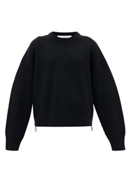 Paco Rabanne Zipped Side Knitted Wool Sweater Black