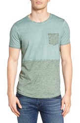 Scotch And Soda Men's Colorblock Pocket T Shirt Mint Melange