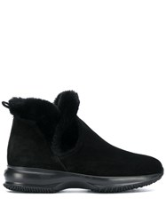 Hogan Fur Trimmed Boots Black