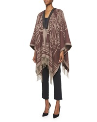 Etro Paisley Print Cashmere Leather Trimmed Poncho