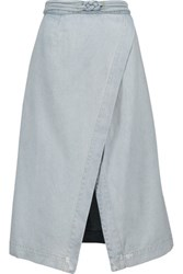 Sea Wrap Effect Denim Skirt Light Denim