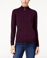 Karen Scott Mock Neck Cable Knit Sweater Only At Macy's Purple Dynasty Marl