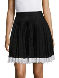 Antonio Berardi Eyelet Pleated Skirt Black White