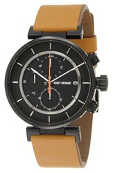 Issey Miyake 'W' Chronograph Leather Strap Watch 43Mm Tan Black