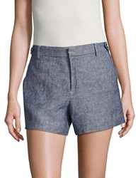 Lord And Taylor Kelly Cotton Blend Shorts Blue