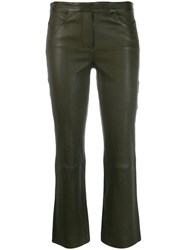Theory Straight Cropped Trousers Green