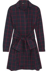 Maje Checked Cotton Flannel Shirt Dress Navy