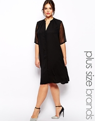 Carmakoma Shirt Dress With Sheer Polka Dot Sleeves