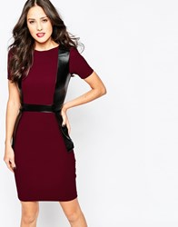 Vesper Melisssa Midi Dress With Pu Panel Detail Red