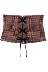 Miu Miu Velvet And Leather Trimmed Prince Of Wales Checked Wool Blend Corset Belt Red
