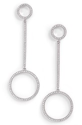 Nordstrom Pave Double Circle Linear Earrings Clear Silver