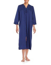Miss Elaine Floral Embroidered Zip Up Duster Robe Navy