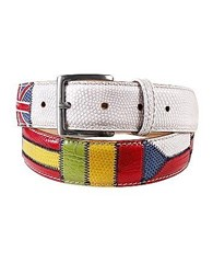 Manieri Flags Patchwork Leather Belt White