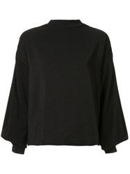 Taylor Fractionated Balloon Sleeve Blouse Black
