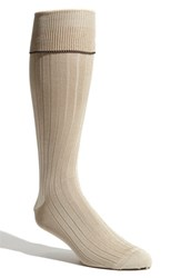Men's Big And Tall Nordstrom Over The Calf Pima Cotton Blend Socks Brown