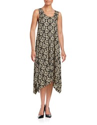 Context Printed Asymmetrical Maxi Dress Black Light Dune