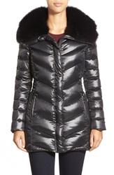 Badgley Mischka 'Magda' Down Coat With Genuine Shearling Collar Black