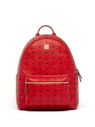 Mcm Stark Coated Canvas Backpack Ruby Red