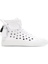 Buscemi Perforated Hi Top Sneakers White
