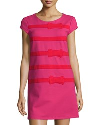 Julie Brown Petite Allora Bow Stripe Shift Dress Pink Red