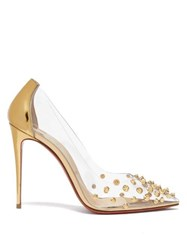 Christian Louboutin Collaclou 100 Spike Studded Pvc Pumps Gold