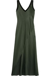Dkny Jersey Trimmed Satin Midi Dress Army Green